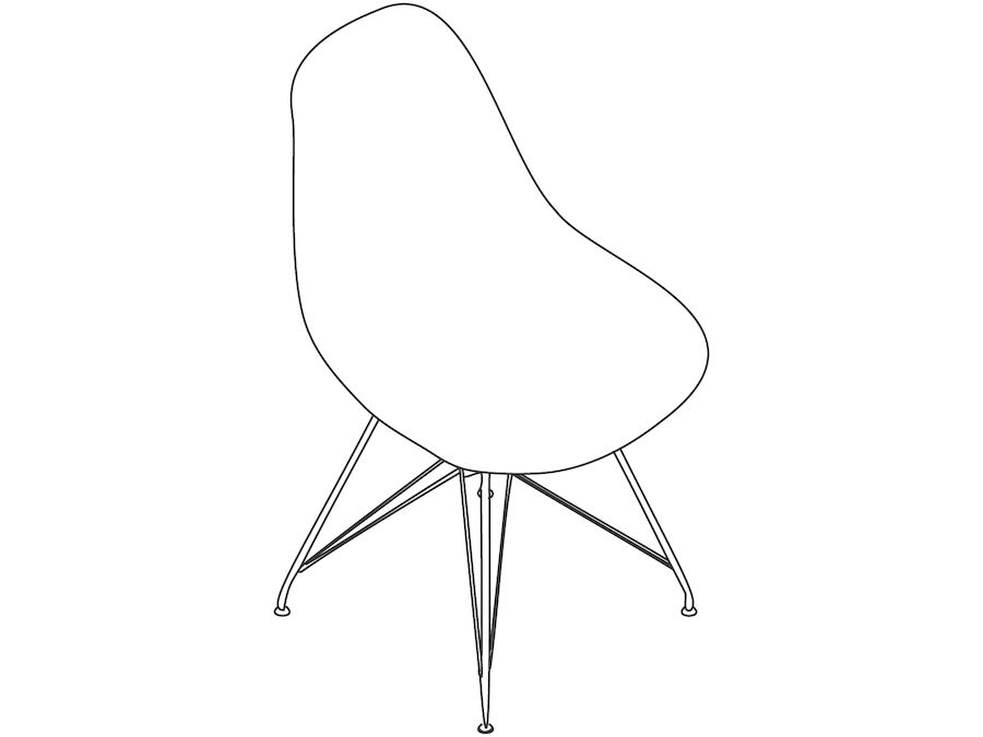 A line drawing - Eames Moulded Plastic Side Chair–Wire Base–Nonupholstered