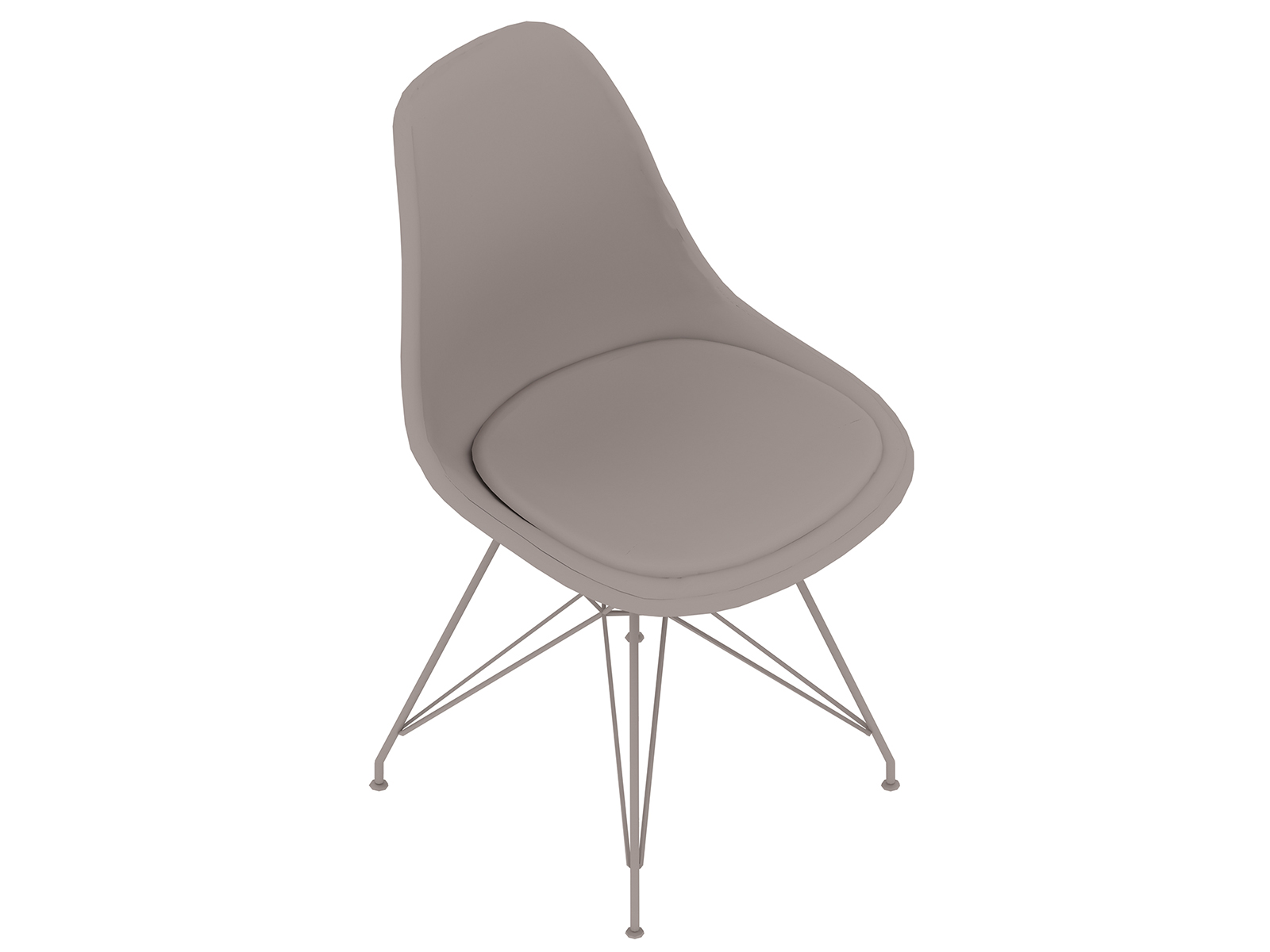 A generic rendering - Eames Moulded Plastic Side Chair–Wire Base–Upholstered Seat Pad