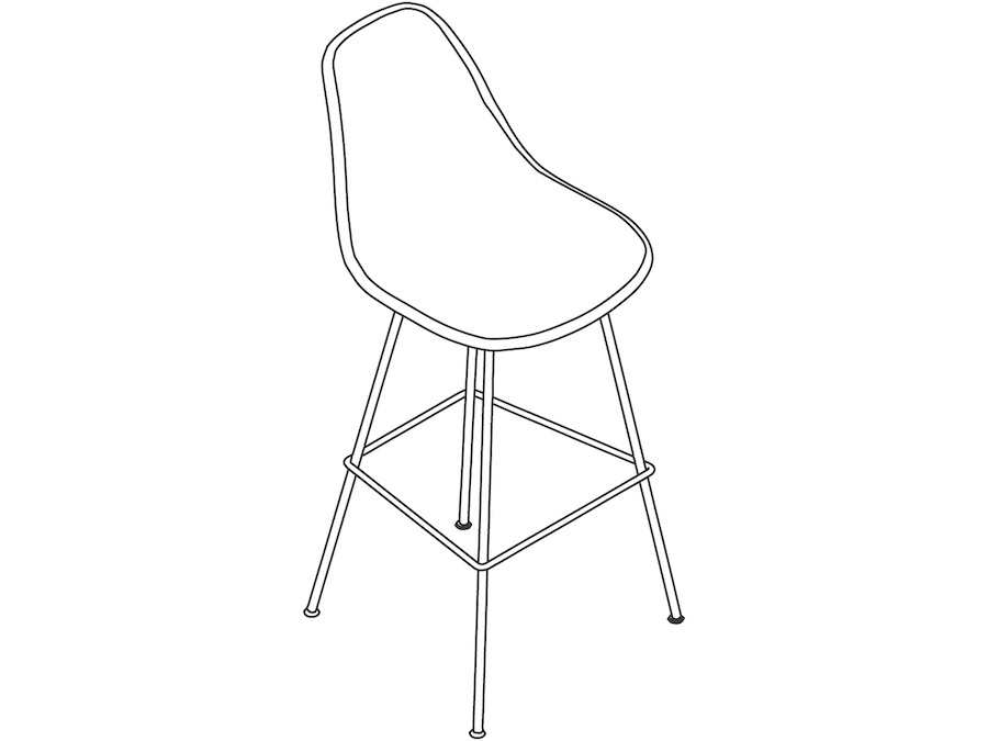 A line drawing - Eames Molded Plastic Stool–Bar Height–Fully Upholstered