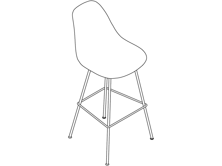 A line drawing - Eames Molded Plastic Stool–Bar Height–Nonupholstered