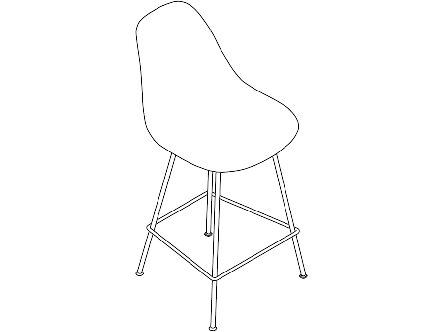 A line drawing - Eames Molded Plastic Stool–Counter Height–Nonupholstered