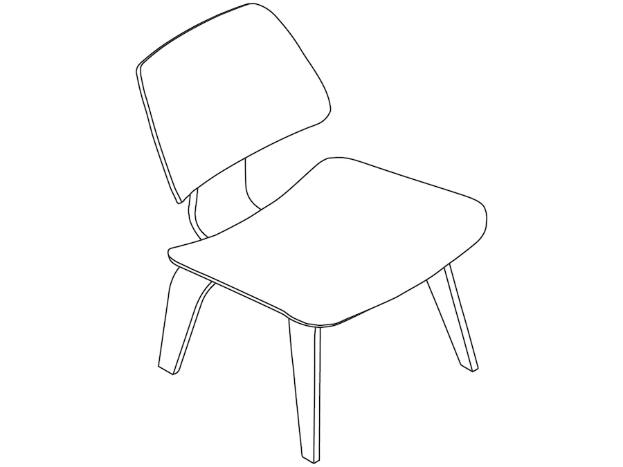 A line drawing - Eames Molded Plywood Lounge Chair–Wood Base–Nonupholstered
