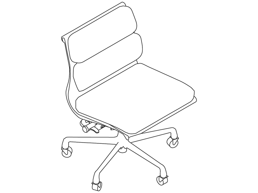 A line drawing - Eames Soft Pad Chair–Management–Armless