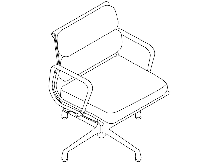 A line drawing - Eames Soft Pad Side Chair–With Arms