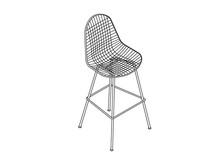 A line drawing - Eames Wire Stool Outdoor–Bar Height