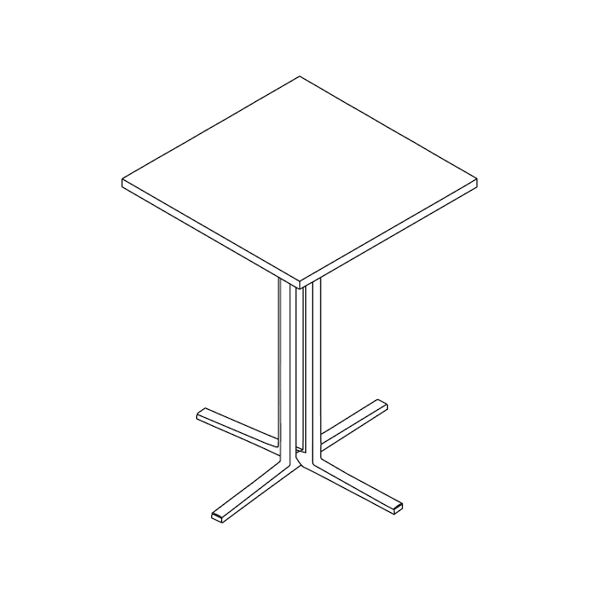 A line drawing - Everywhere Standing Height Table–Square