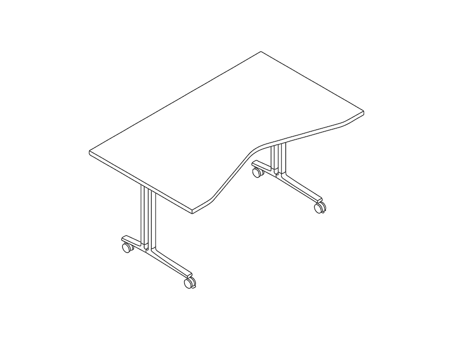 A line drawing - Everywhere Table–Concave Rectangular–C Leg