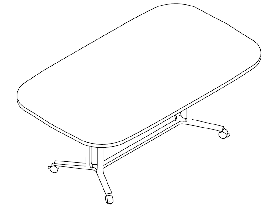 A line drawing - Everywhere Table–Oval–Double 3-Column Base