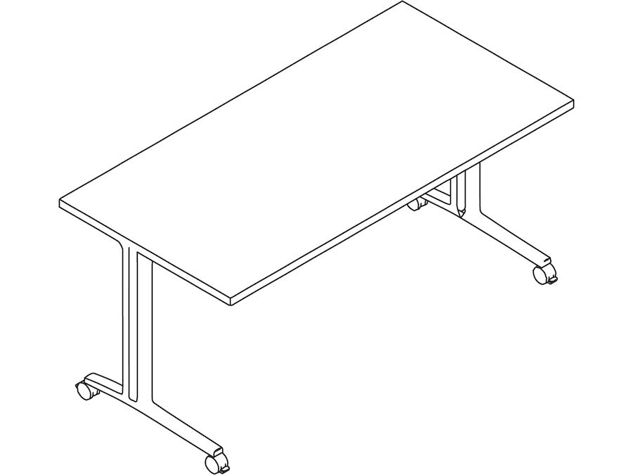A line drawing - Everywhere Table–Rectangular–C Leg