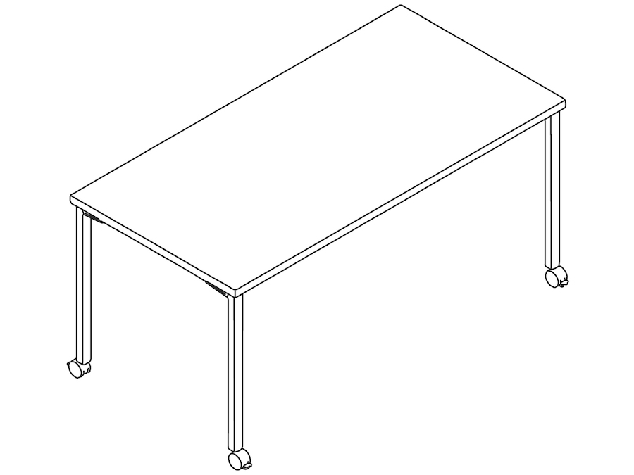 A line drawing - Everywhere Table–Rectangular–Post Leg