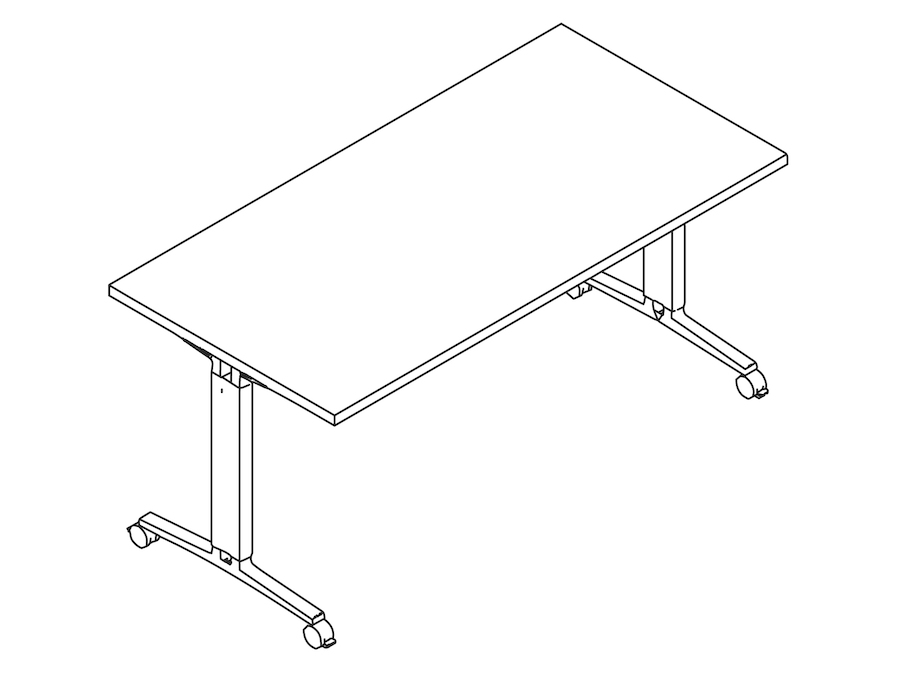 A line drawing - Everywhere Table–Rectangular–T Leg