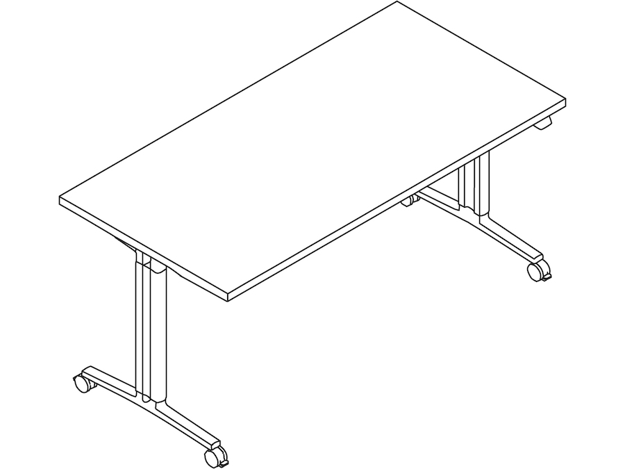 A line drawing - Everywhere Table–Rectangular–T Leg With Height Adjustment