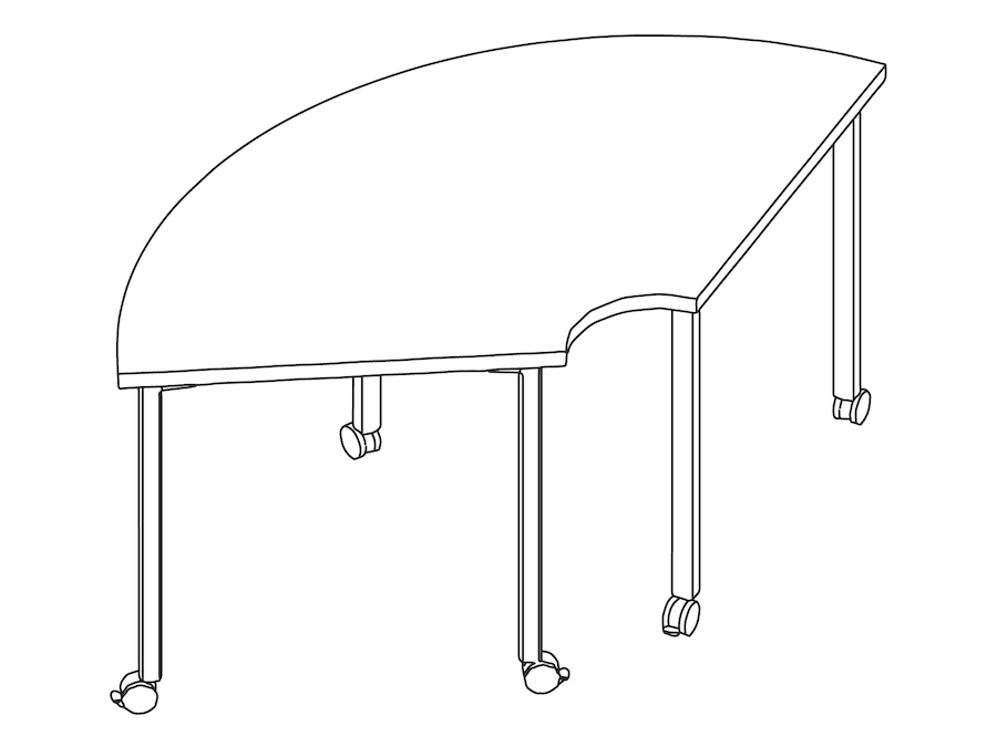 A line drawing - Everywhere Table–Round Corner