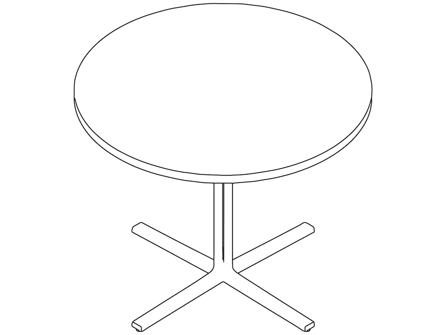 A line drawing - Everywhere Table–Round–Single Column Base