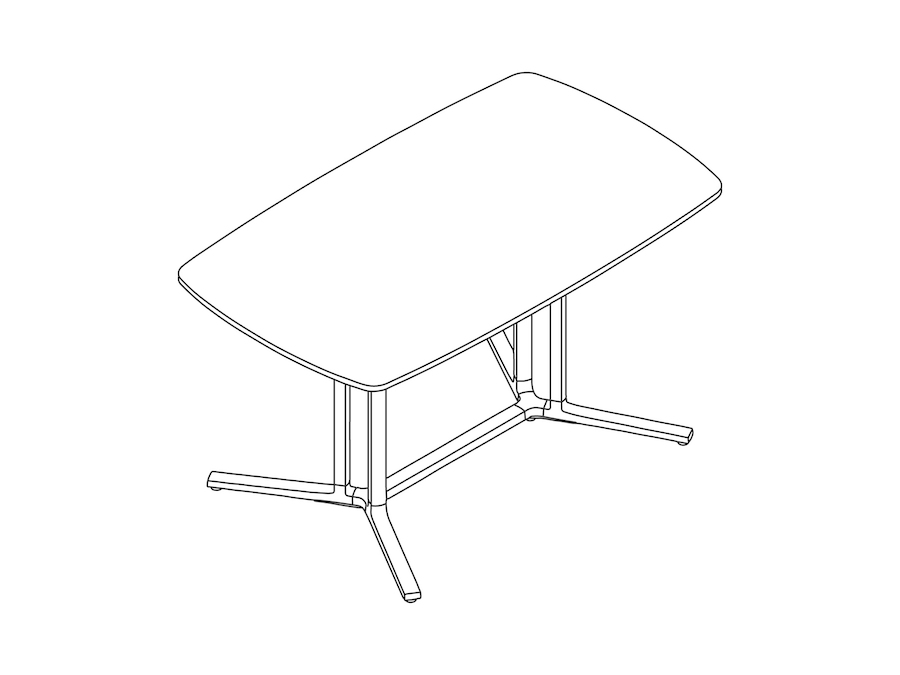 A line drawing - Everywhere Table–Soft Rectangular–Double 3-Column Base Spanner
