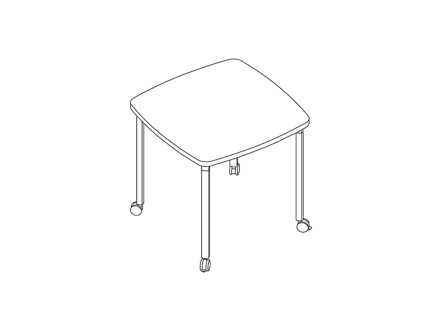 A line drawing - Everywhere Table–Soft Square–Post Leg