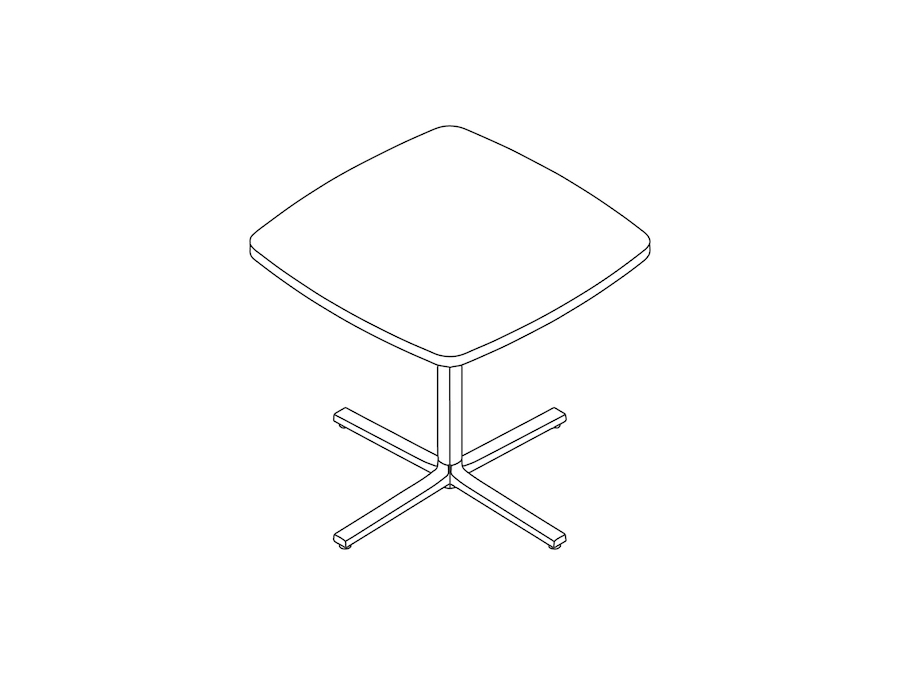 A line drawing - Everywhere Table–Soft Square–Single Column Base