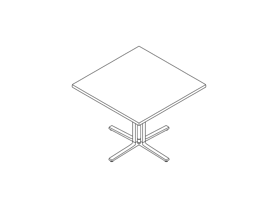 A line drawing - Everywhere Table–Square–4 Column Base