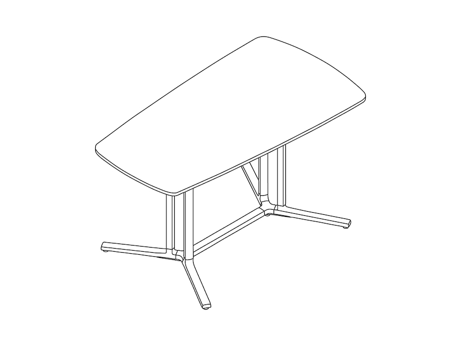 A line drawing - Everywhere Table–Video Oval–Double 3-Column Base Spanner