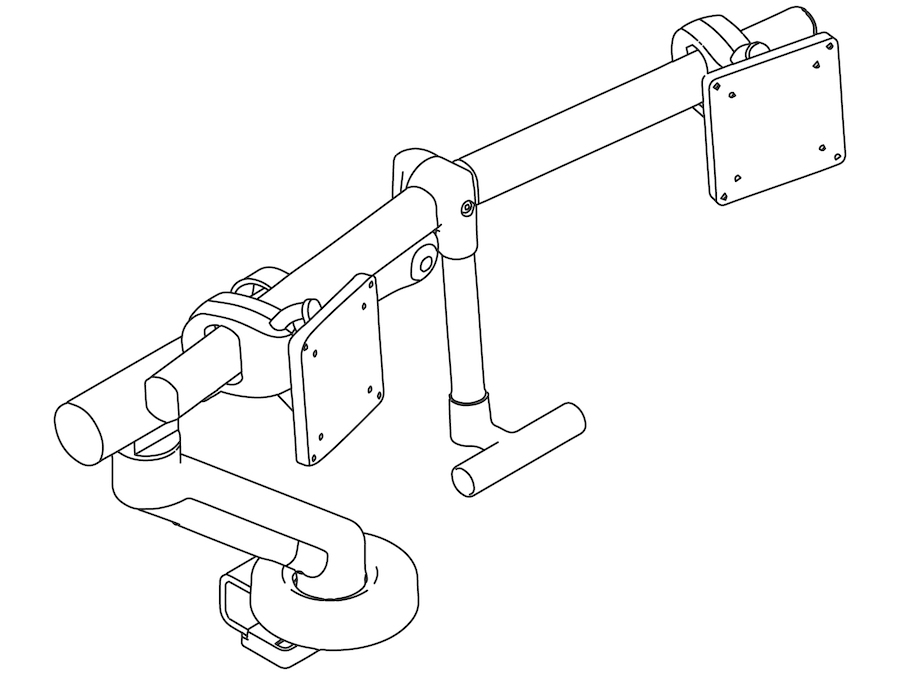 A line drawing - Flo Plus Monitor Arm – Dual