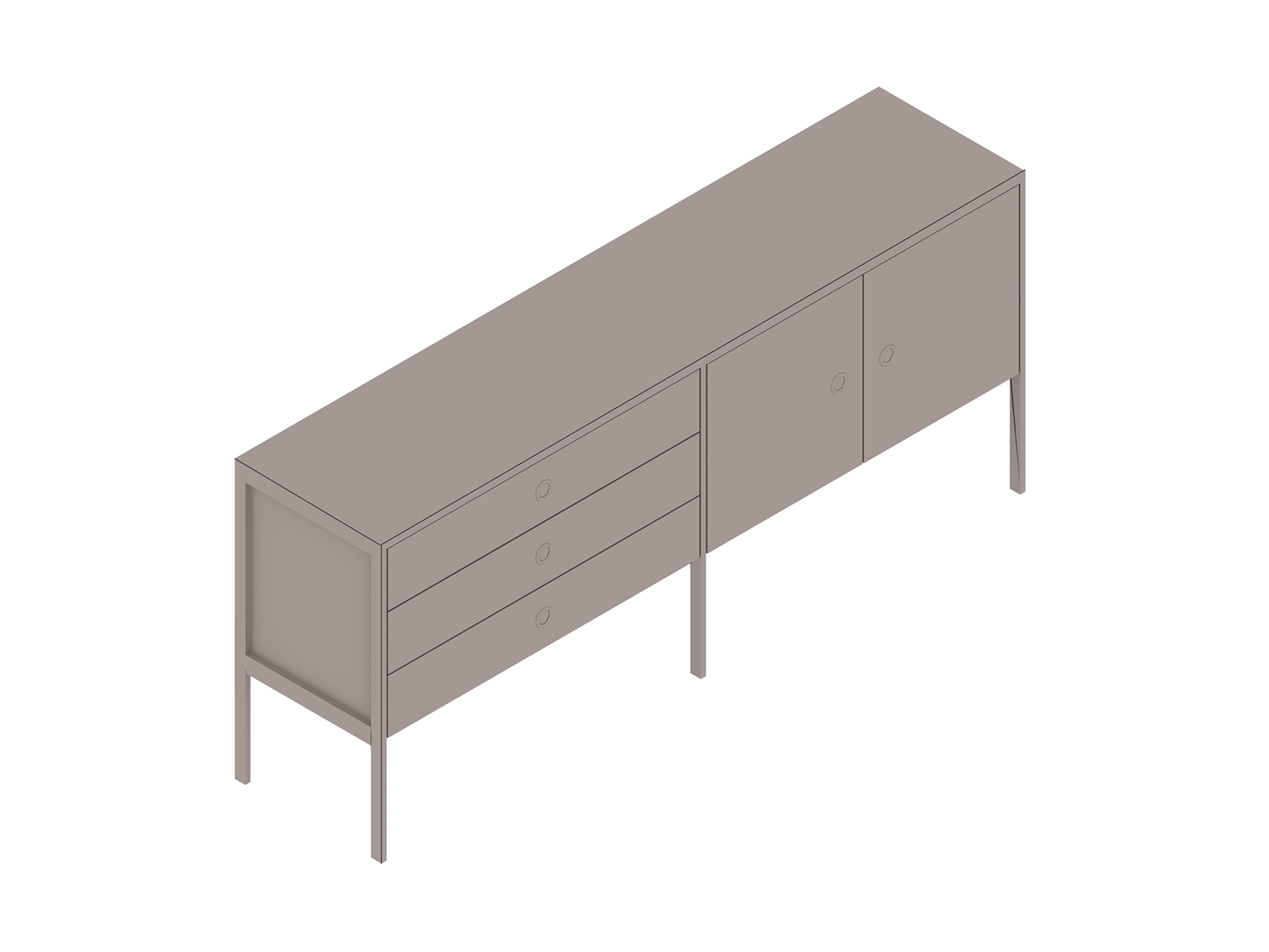 A generic rendering - H Frame Credenza–2 Units Wide