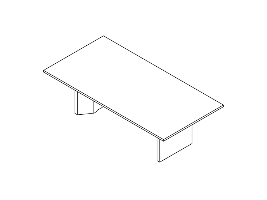 A line drawing - Headway Conference Table–Seated Height–Rectangular–Cabinet Base