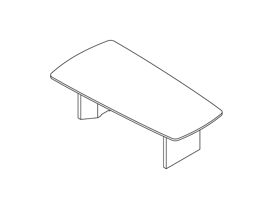 A line drawing - Headway Conference Table–Seated Height–Tapered–Cabinet Base