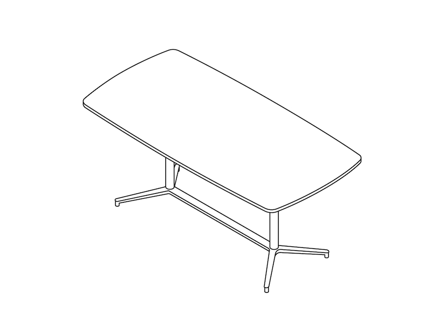 A line drawing - Headway Conference Table–Standing Height–Boat–Y Base
