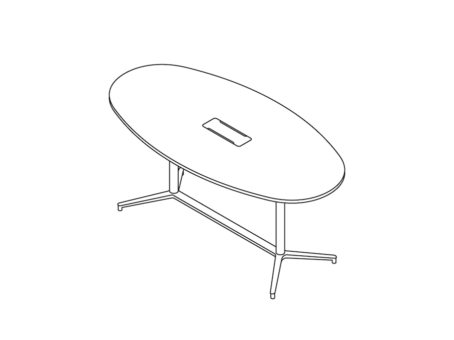 A line drawing - Headway Conference Table–Standing Height–Oval–Y Base