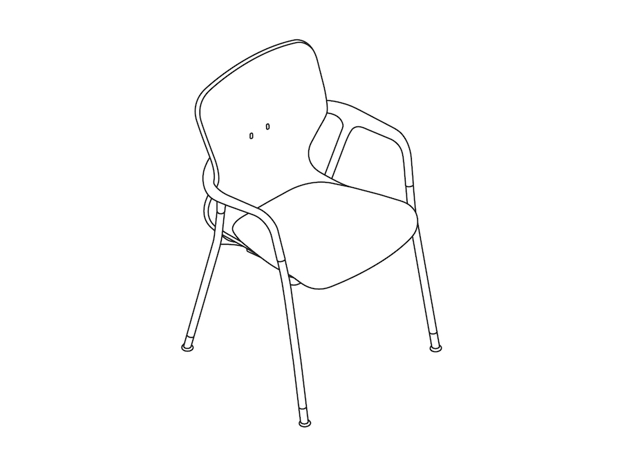 A line drawing - Keyn Chair–4-Leg Base–With Arms