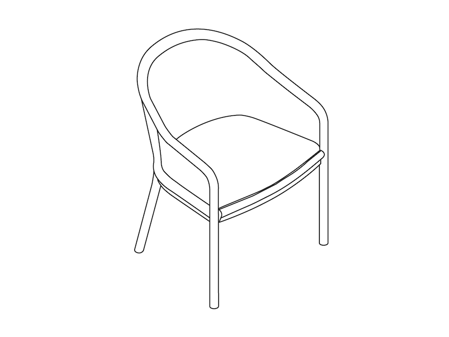 A line drawing - Landmark Chair–Cane–Standard Arms