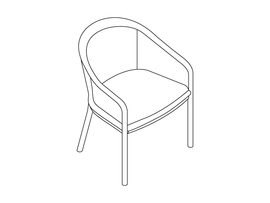 A line drawing - Landmark Chair – French Upholstered – Standard Arms