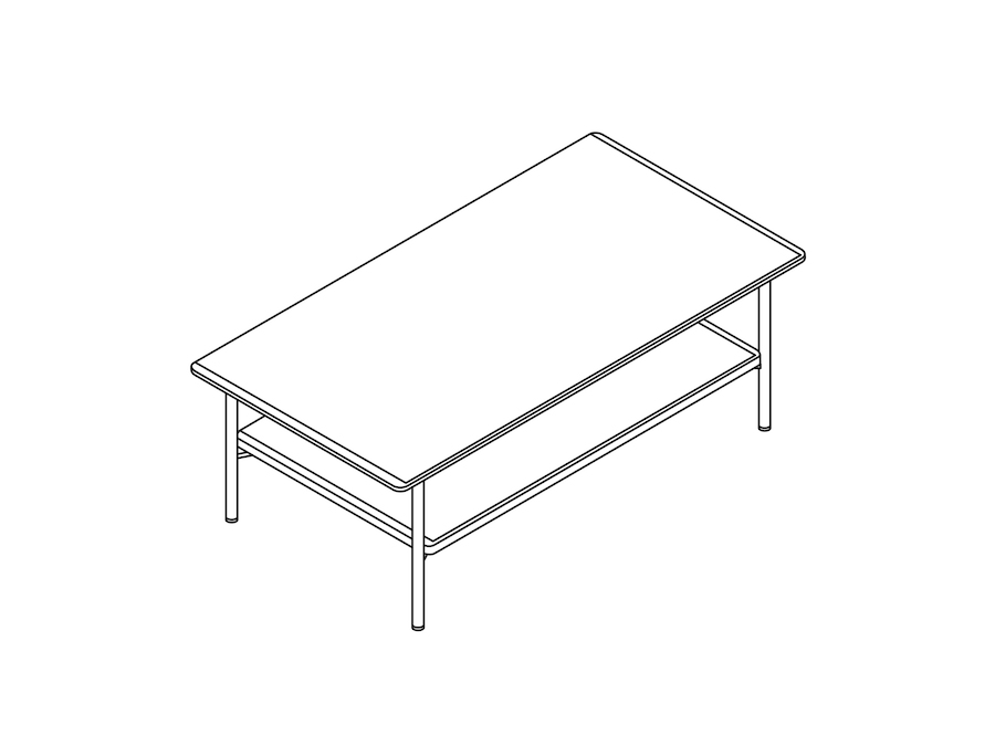 A line drawing - Layer Coffee Table–Wood Shelf