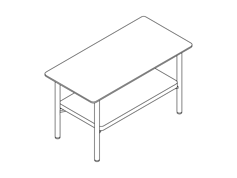 A line drawing - Layer Side Table–Wood Shelf