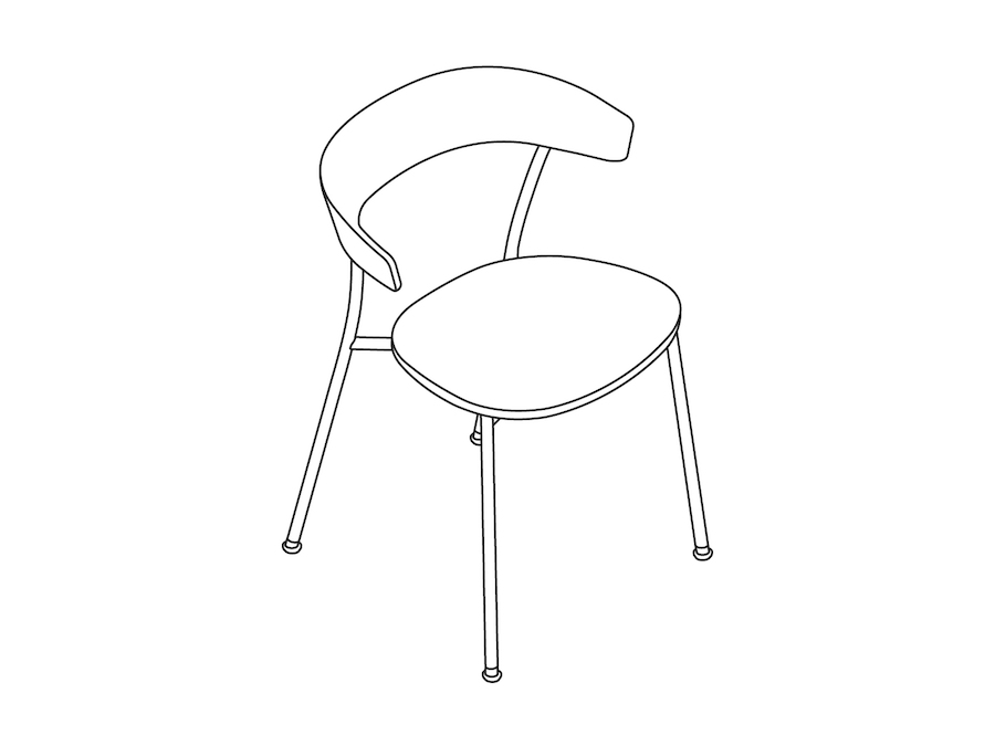 A line drawing - Leeway Chair–Metal Frame–Wood Seat