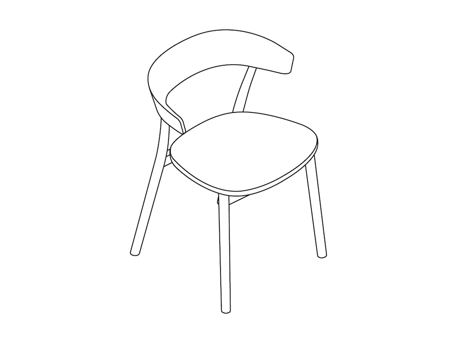 A line drawing - Leeway Chair–Wood Frame–Upholstered Seat