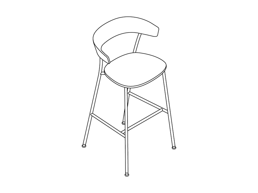 A line drawing - Leeway Stool–Bar Height–Wood Seat