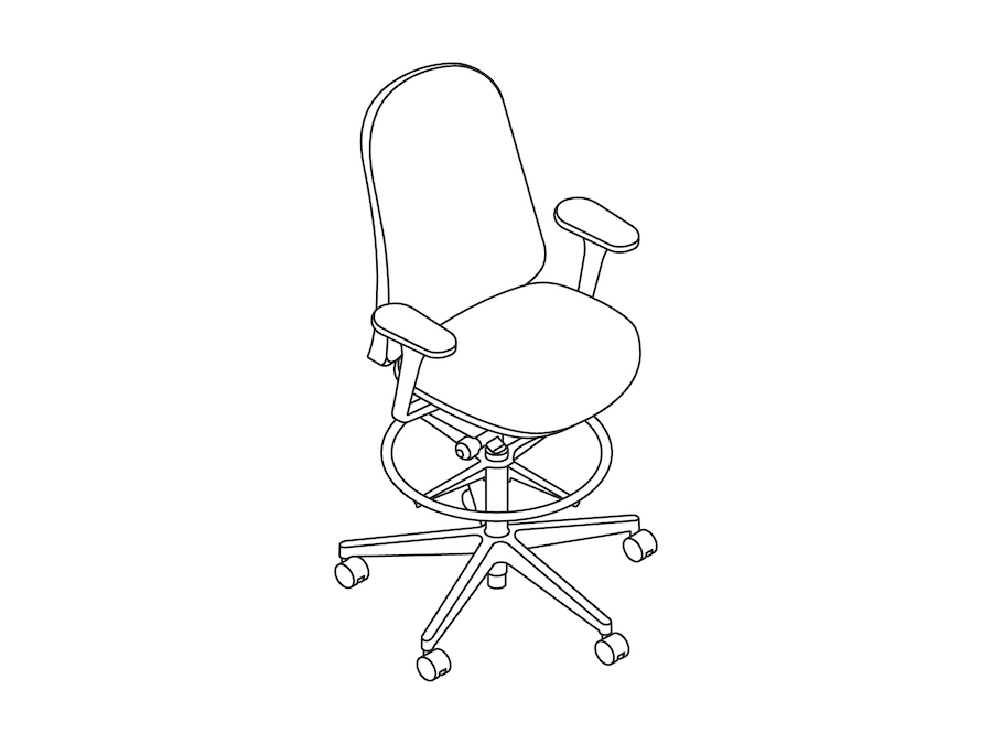 A line drawing - Lino Stool–Fixed Arms