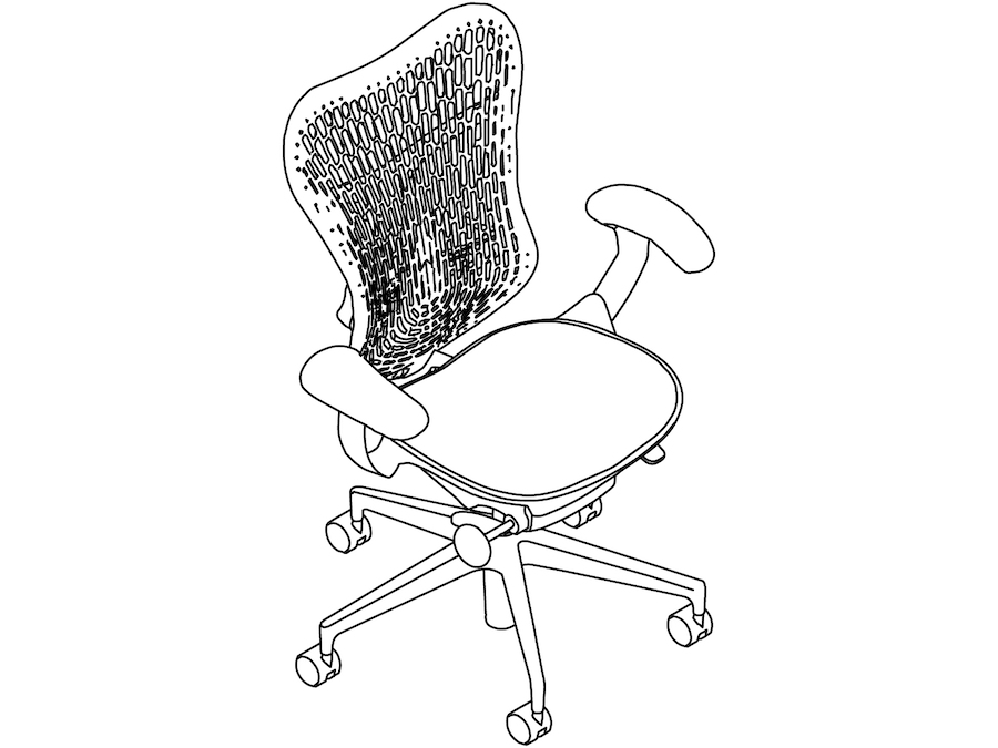 A line drawing - Mirra 2 Chair–Polymer Back–Fixed Arms