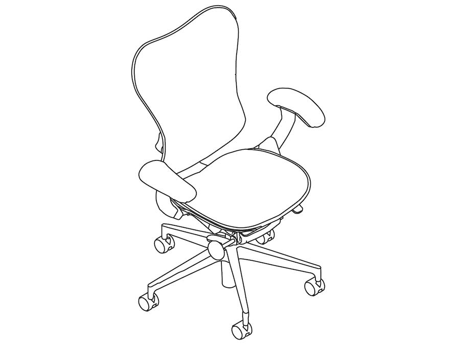 A line drawing - Mirra 2 Chair–Suspension Back–Fixed Arms