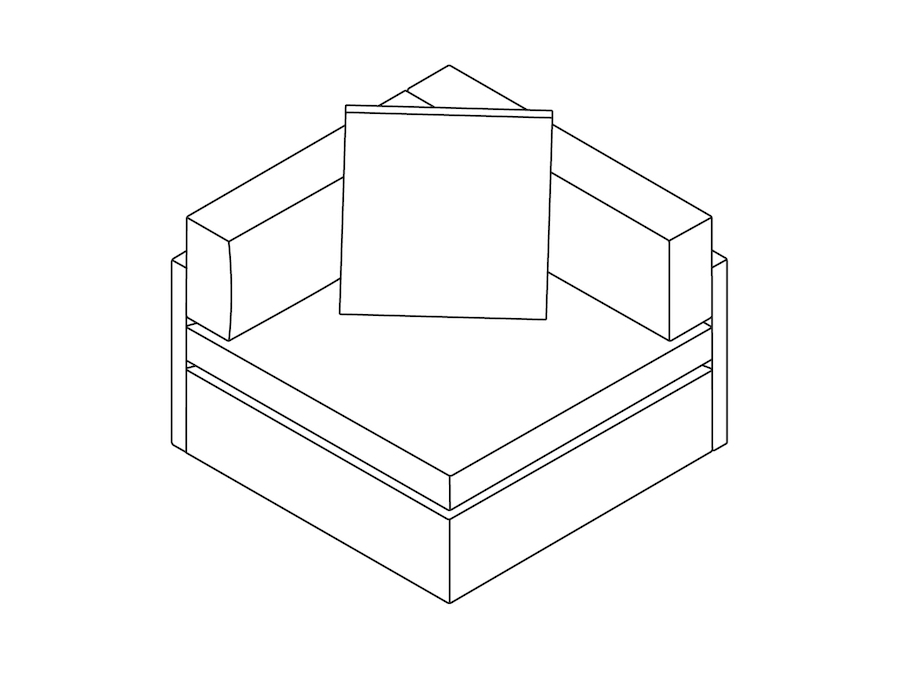 A line drawing - Module Lounge Seating–Corner