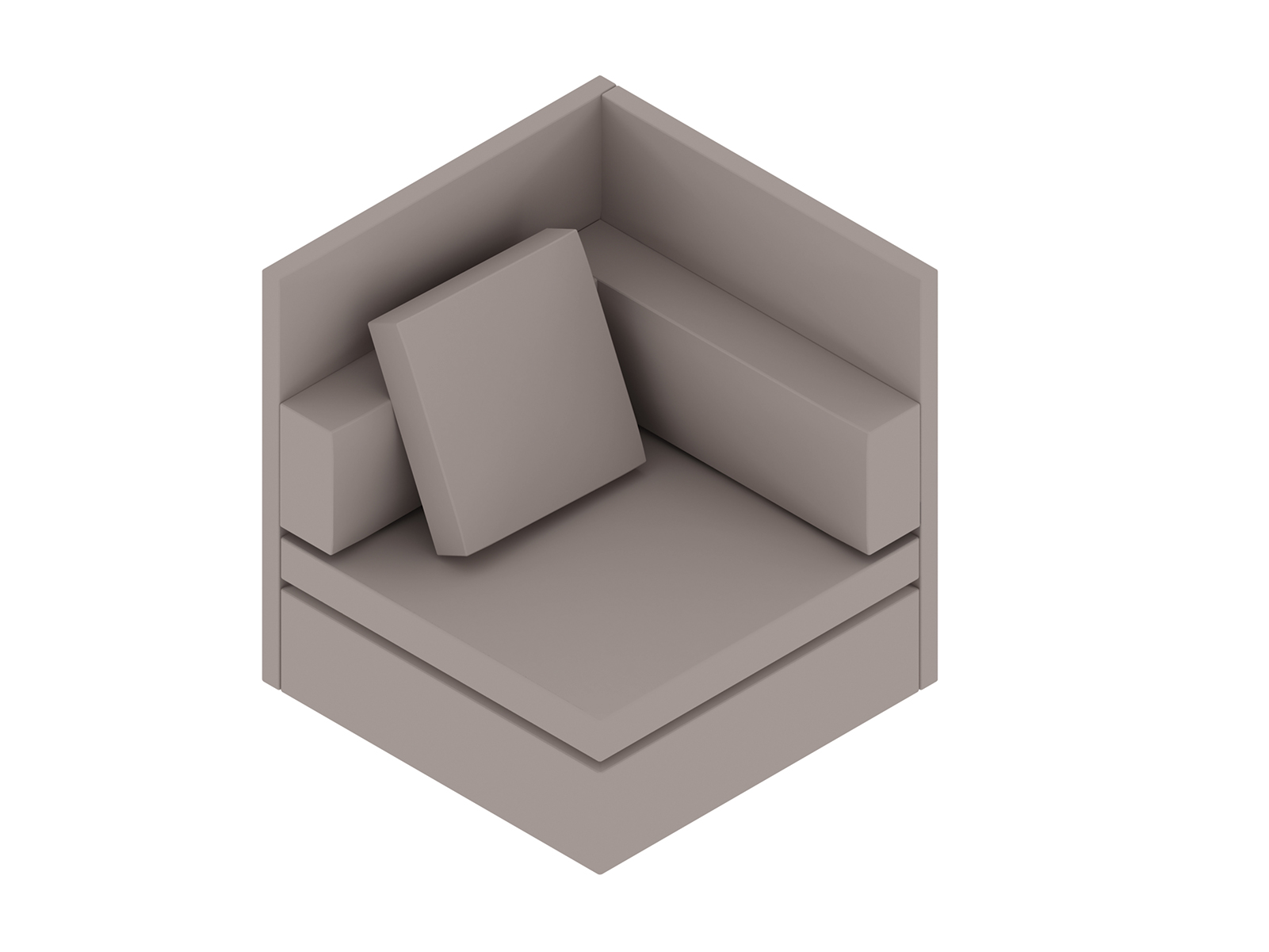 A generic rendering - Module Lounge Seating–Single Seat–Privacy Back–Left Arm