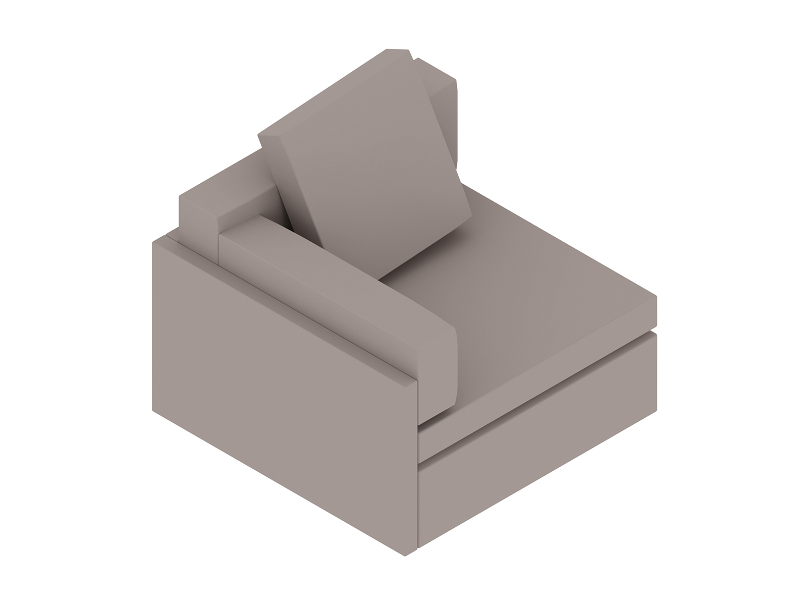 A generic rendering - Module Lounge Seating–Single Seat–Right Arm