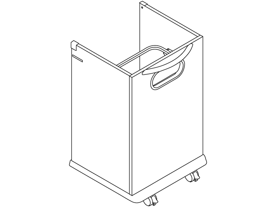A line drawing - Mora Trash Cart