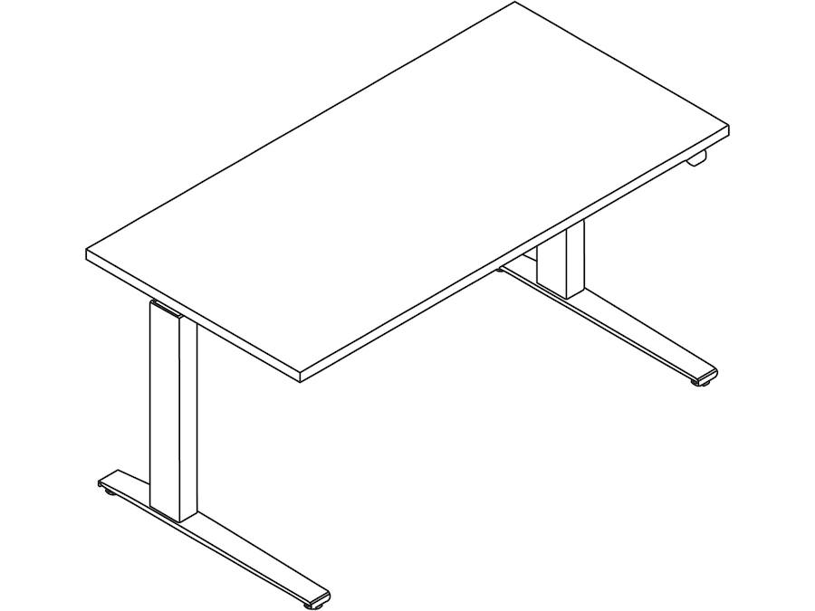 A line drawing - Motia Sit-to-Stand Table–Rectangular–C Foot