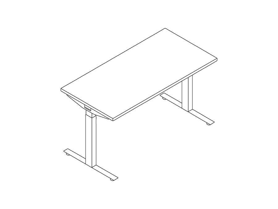 A line drawing - Nevi Sit-Stand Desks
