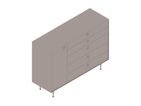 A generic rendering - Nelson Thin Edge Chest–5 Drawer–Left Door