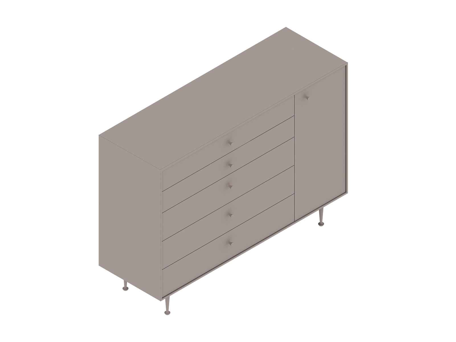 A generic rendering - Nelson Thin Edge Chest–5 Drawer–Right Door