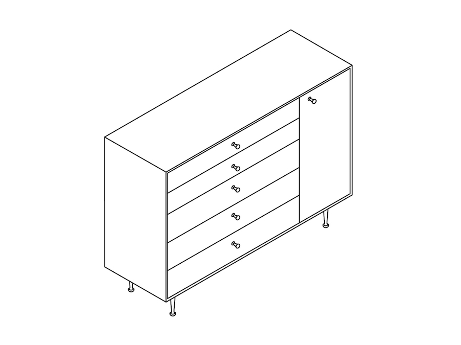 A line drawing - Nelson Thin Edge Chest–5 Drawer–Right Door