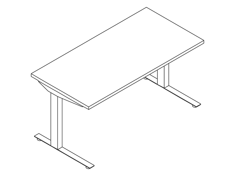 A line drawing - Nevi Sit-to-Stand Table–C Foot